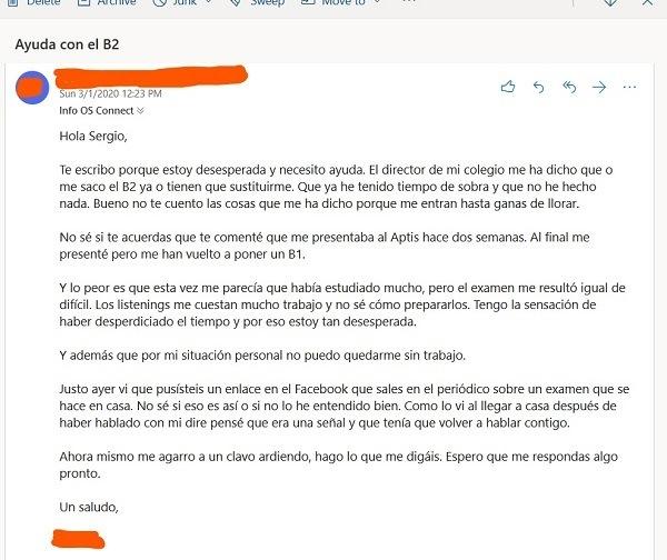 Email de Laura de Octubre
